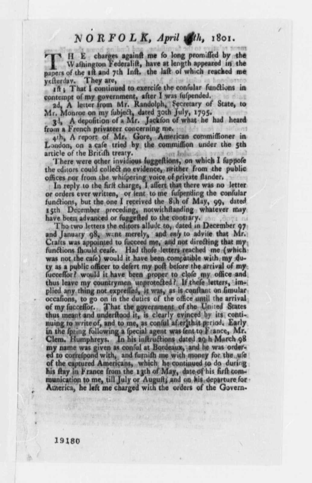 Joseph Fenwick to Thomas Jefferson, April 14, 1801, Printed
