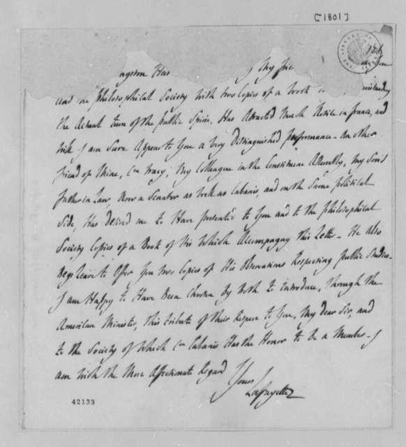 Marie Joseph Paul Yves Roch Gilbert du Motier, Marquis de Lafayette to Thomas Jefferson, 1801