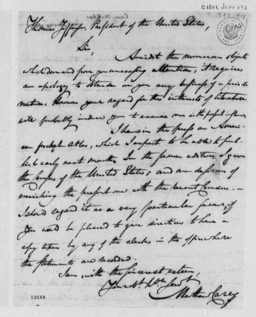 Matthew Carey to Thomas Jefferson, June 29, 1801