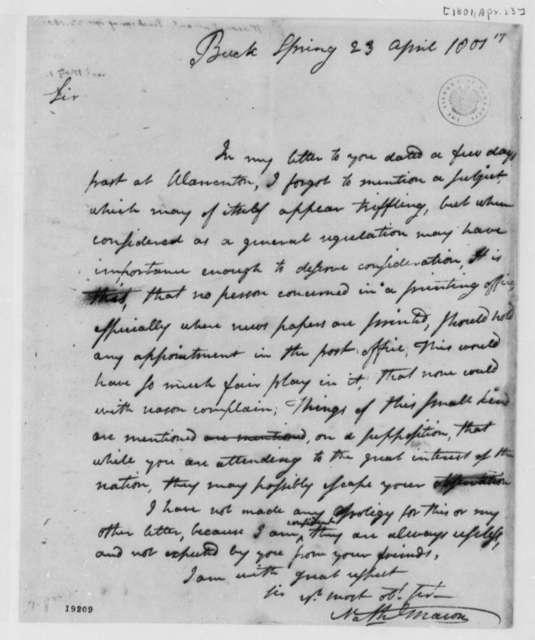 Nathaniel Macon to Thomas Jefferson, April 23, 1801