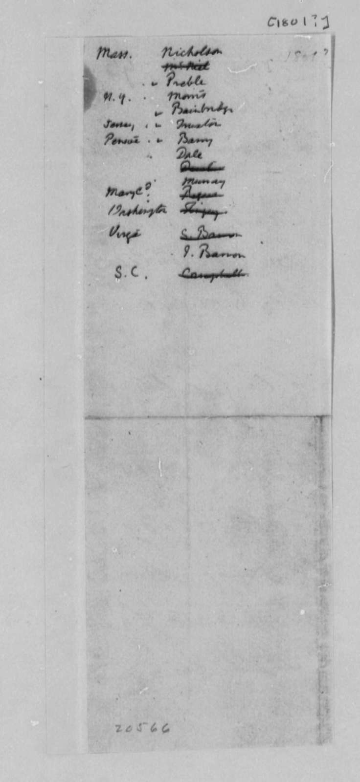 Navy Department, 1801, List of Officers