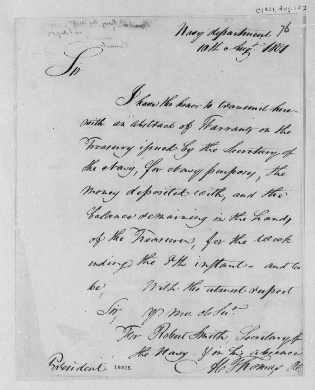 Navy Department to Thomas Jefferson, August 10, 1801