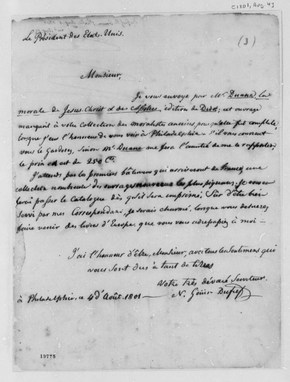Nicholas Gouin Dufief to Thomas Jefferson, August 4, 1801, in French