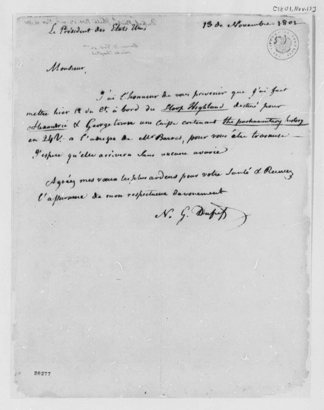 Nicholas Gouin Dufief to Thomas Jefferson, November 13, 1801, in French