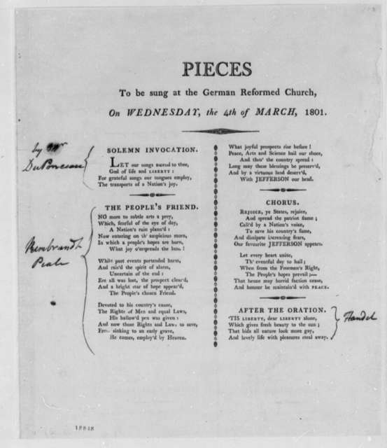 Pennsylvania German Reformed Church, March 4, 1801, Poems and Thomas Jefferson Notes