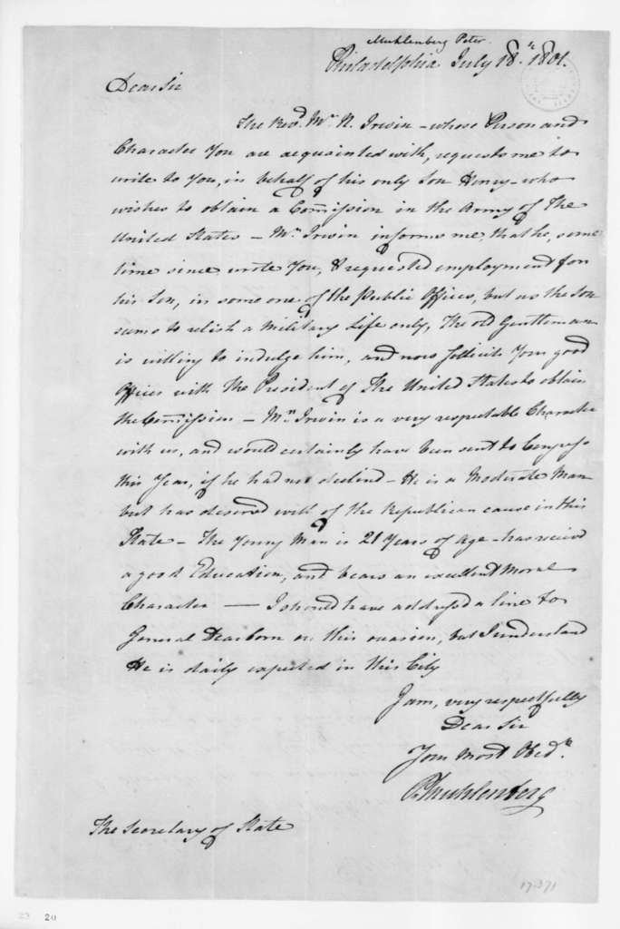 Peter Muhlenberg to James Madison, July 18, 1801.