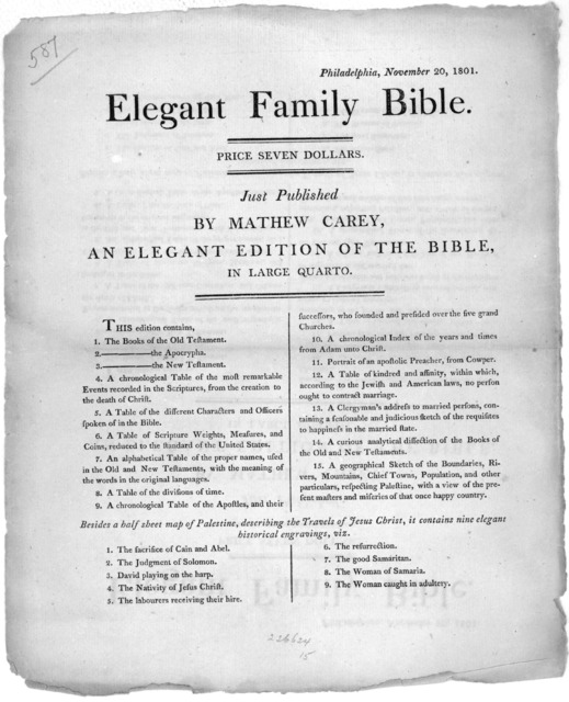 Philadelphia, November 20, 1801. Elegant family Bible. Price seven dollars. Just published by Mathew Carey. an elegant edition of the Bible. in large quarto. [Philadelphia, Mathew Carey, 1801].