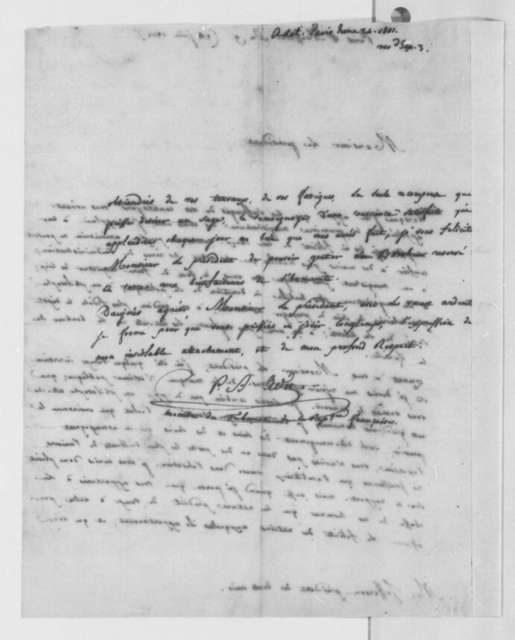 Pierre Auguste Adet to Thomas Jefferson, June 24, 1801, in French