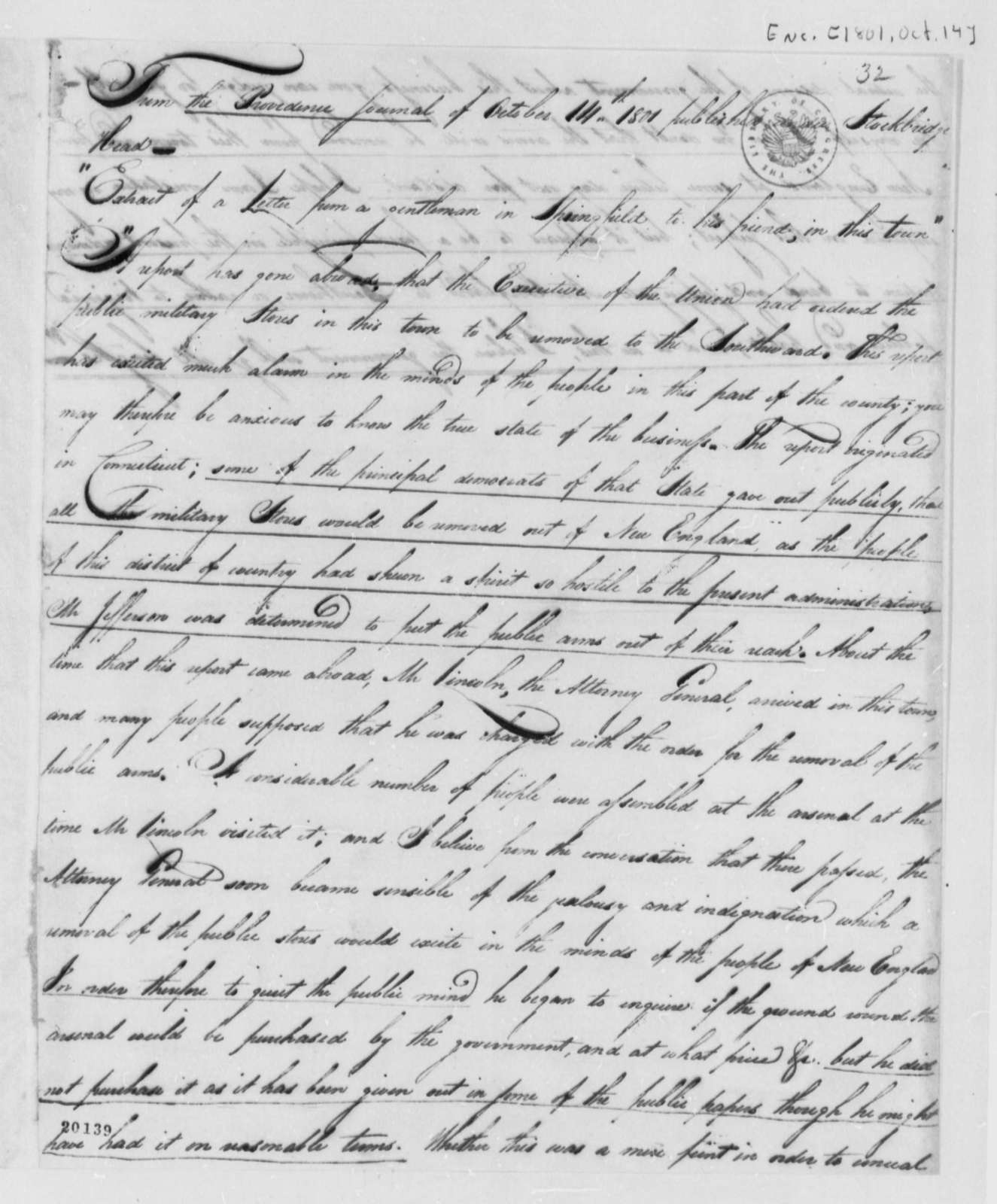 Providence, Rhode Island, Journal, October 14, 1801, Extract of Letter on Arms Removal