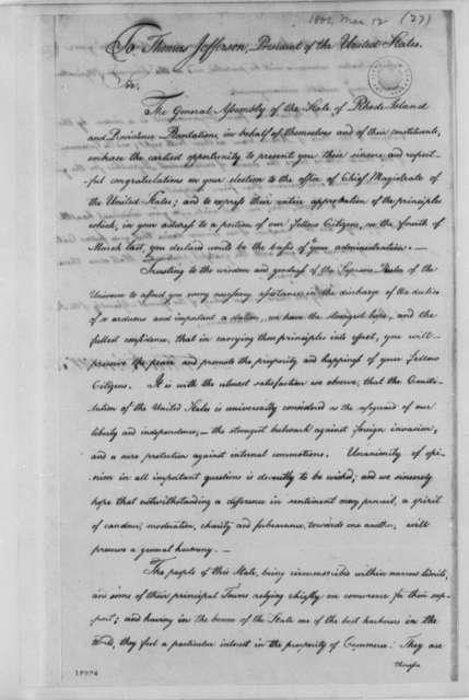 Rhode Island General Assembly, March 12, 1801
