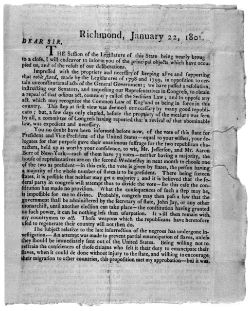 Richmond, January 22, 1801. Dear Sir. The session of the Legislature of this State being nearly bought to a close, I will endeavor to inform you of the principal objects which have occupied us, and of the result of our deliberations ... R. Yance