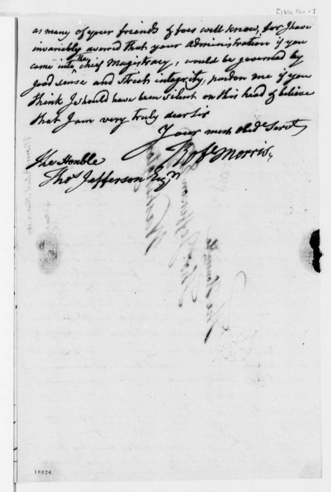 Robert Morris to Thomas Jefferson, March 2, 1801