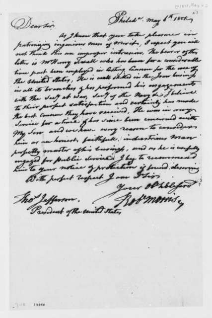 Robert Morris to Thomas Jefferson, May 6, 1801