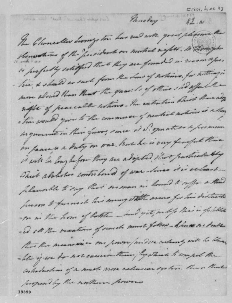 Robert R. Livingston to Thomas Jefferson, June 4, 1801