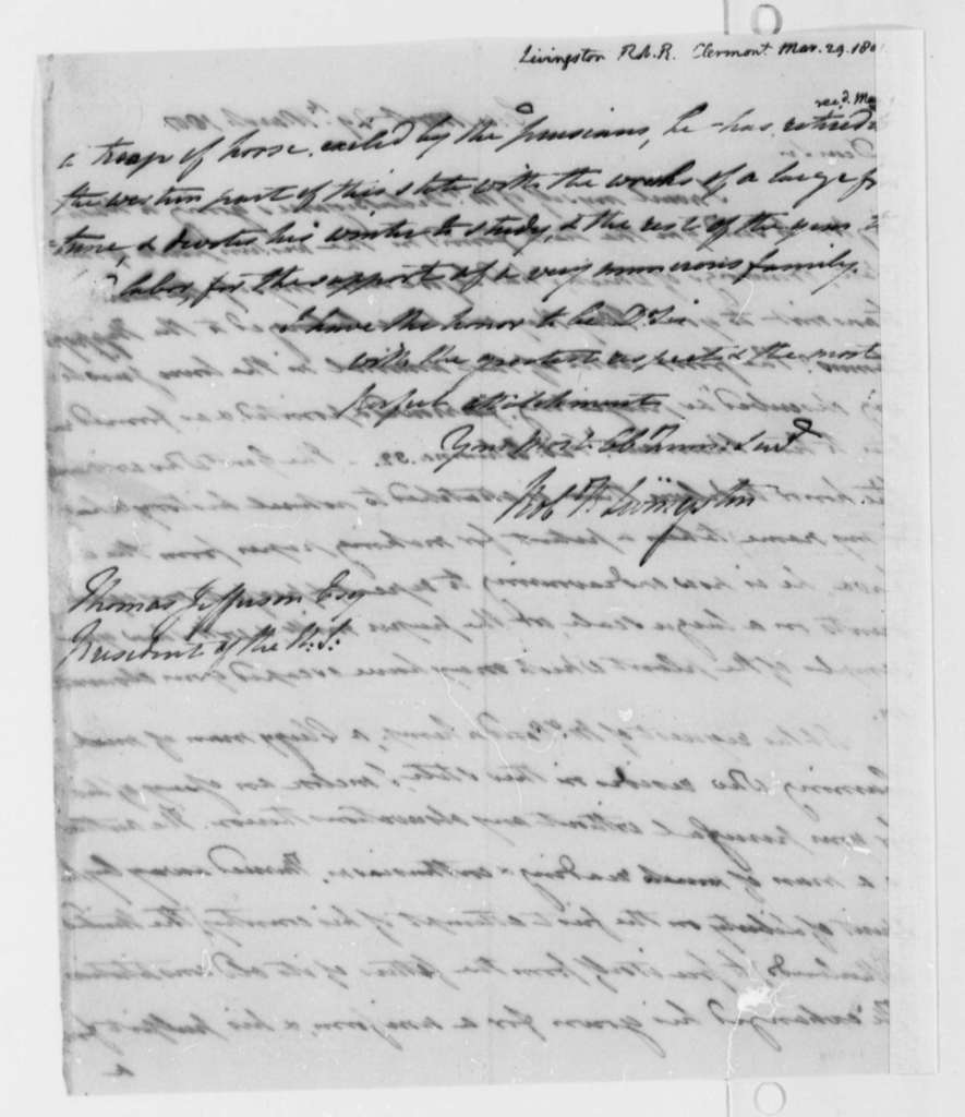 Robert R. Livingston to Thomas Jefferson, March 29, 1801