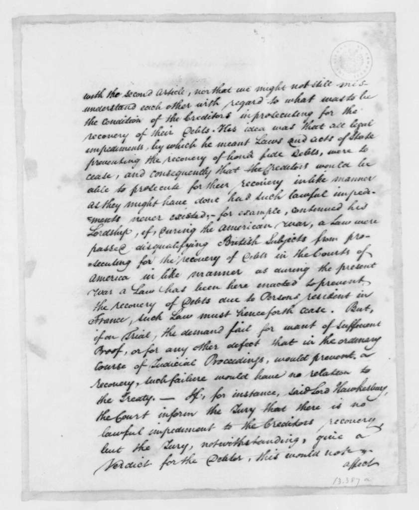 Rufus King, October 9, 1801. Notes on Conference, Negotiations with Hawkesbury.