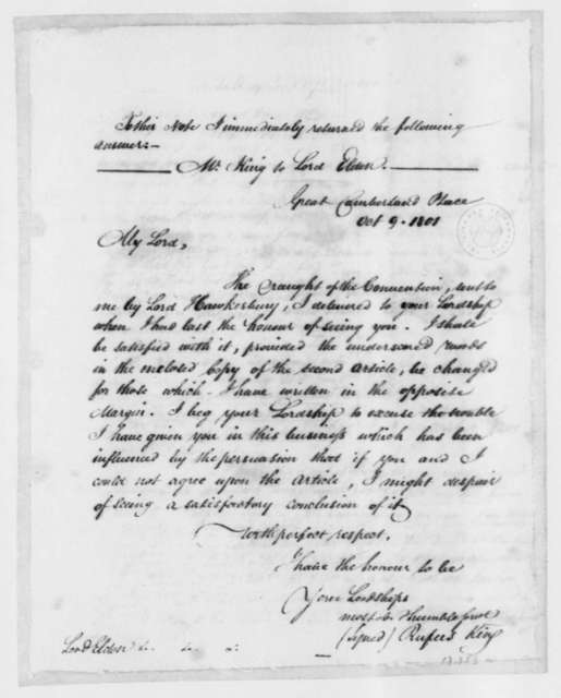 Rufus King to John Scott, First Earl of Eldon, October 9, 1801.