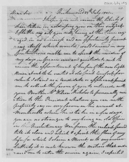 Samuel Eddins to Philip N. Nicholas, July 29, 1801