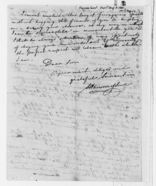 Samuel Hanson to Thomas Jefferson, August 8, 1801, with List of Names