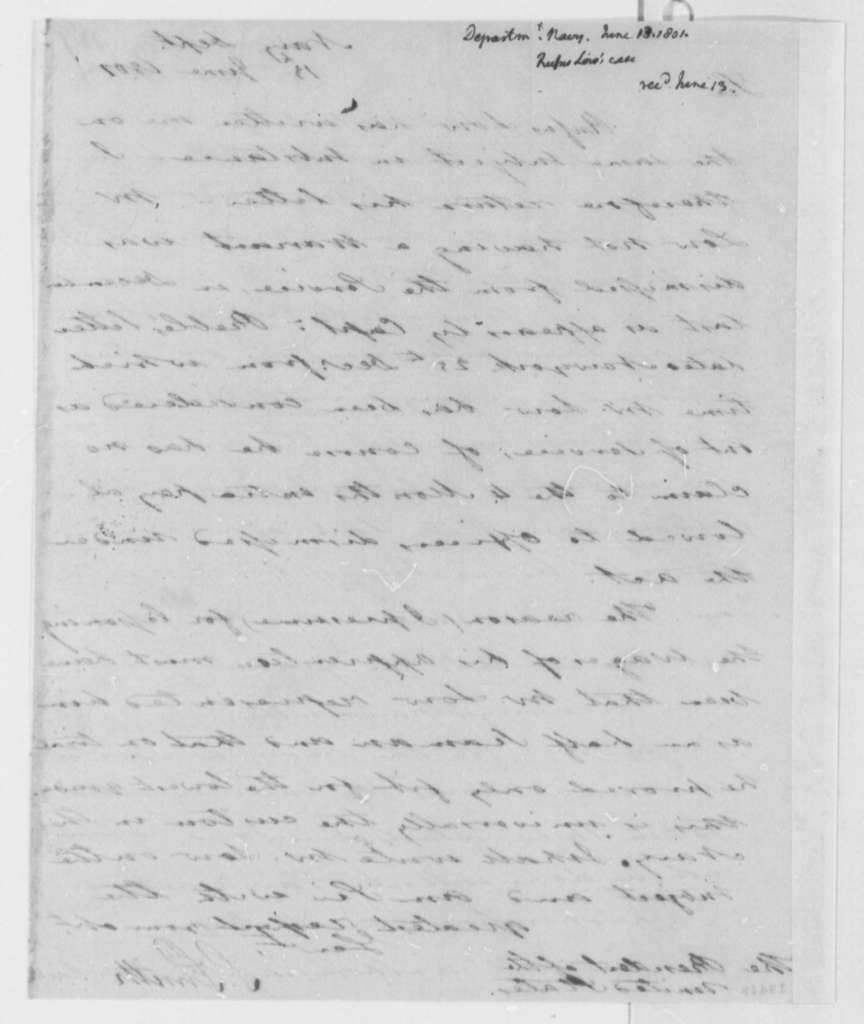 Samuel Smith to Thomas Jefferson, June 13, 1801