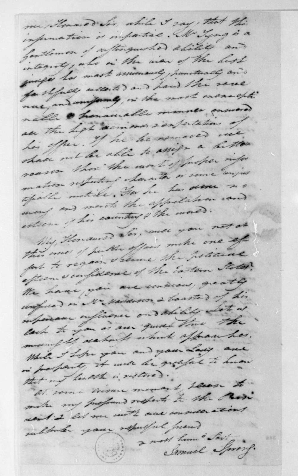 Samuel Spring to James Madison, October 20, 1801.