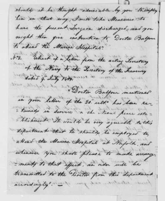 Secretary of the Navy to Secretary of the Treasury, July 9, 1801, Extract