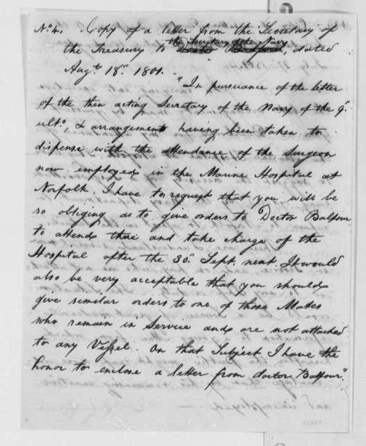 Secretary of the Treasury to Secretary of the Navy, August 18, 1801, Extract