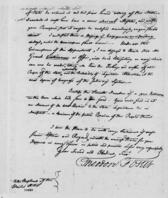 Theodore Foster to Thomas Jefferson, April 28, 1801