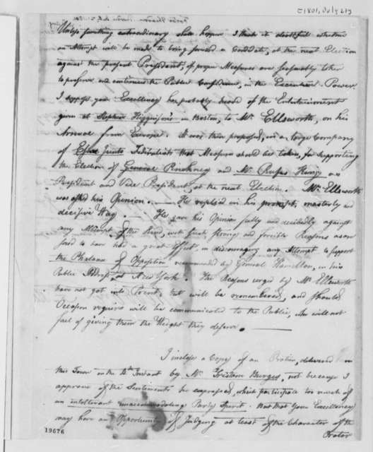 Theodore Foster to Thomas Jefferson, July 21, 1801