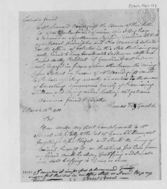Thomas Fitzgerald to Thomas Jefferson, March 12, 1801