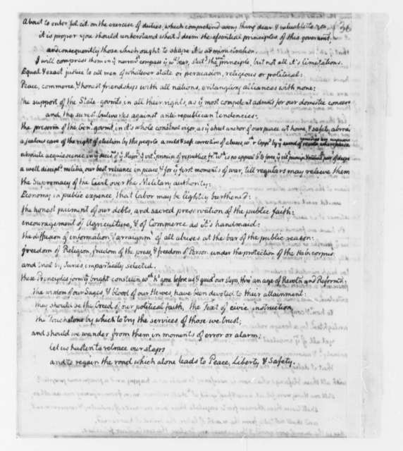 Thomas Jefferson, March 4, 1801, Draft of First Inaugural