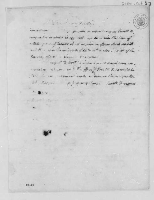 Thomas Jefferson to Albert Gallatin, October 3, 1801, Partly Illegible