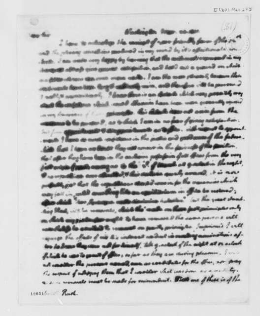 Thomas Jefferson to Benjamin Rush, March 24, 1801