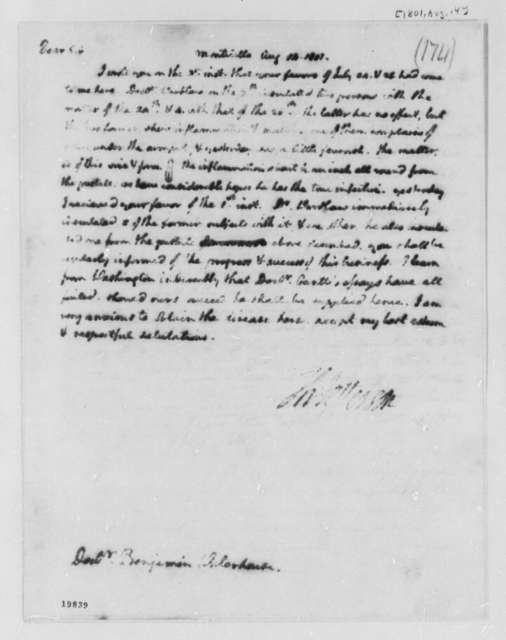Thomas Jefferson to Benjamin Waterhouse, August 14, 1801