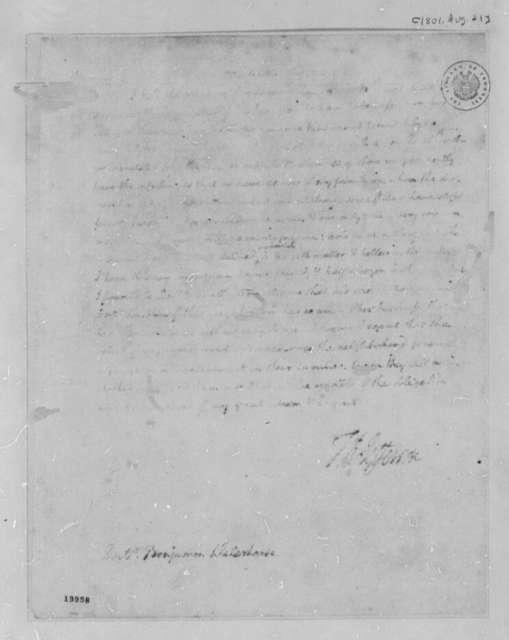 Thomas Jefferson to Benjamin Waterhouse, August 21, 1801, Illegible