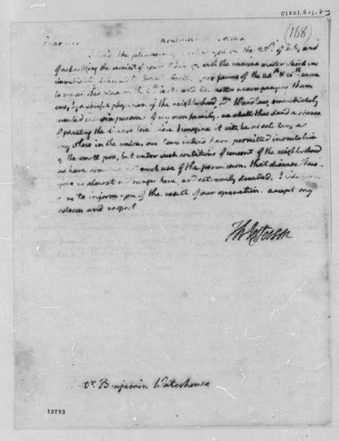 Thomas Jefferson to Benjamin Waterhouse, August 8, 1801