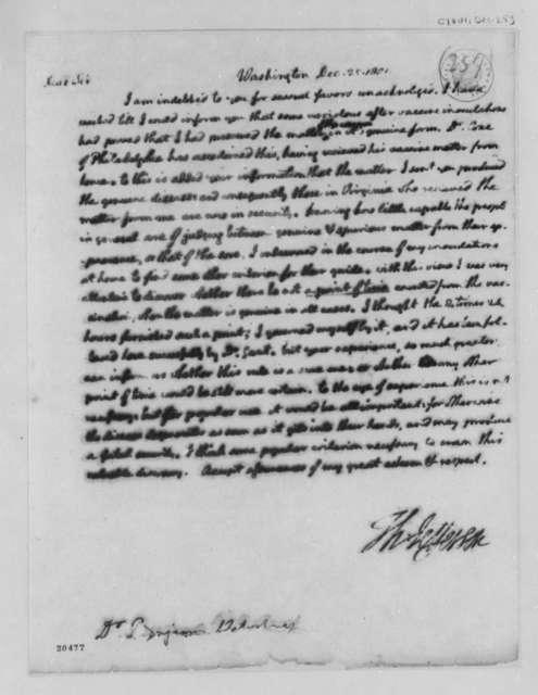 Thomas Jefferson to Benjamin Waterhouse, December 25, 1801