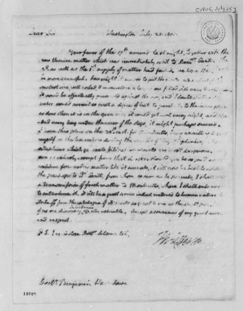 Thomas Jefferson to Benjamin Waterhouse, July 25, 1801