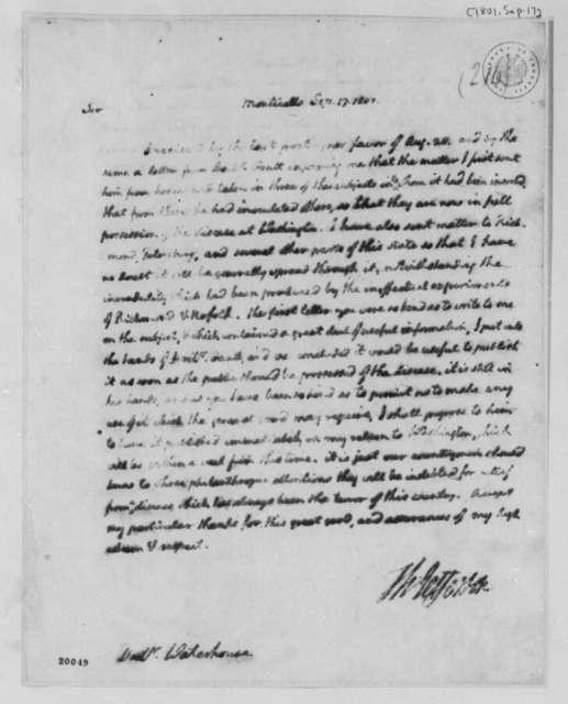 Thomas Jefferson to Benjamin Waterhouse, September 17, 1801