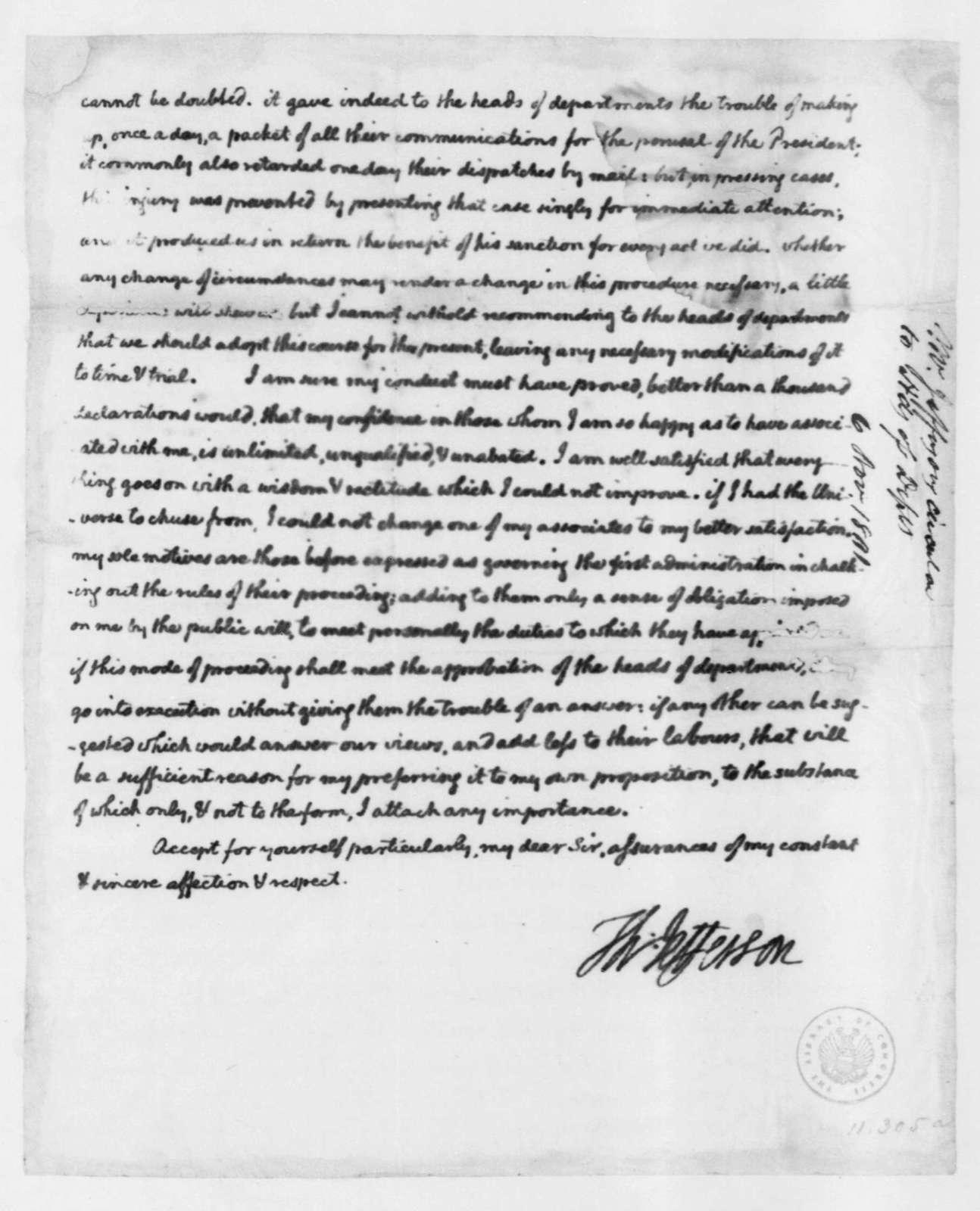 Thomas Jefferson to Cabinet Members, November 6, 1801 ...