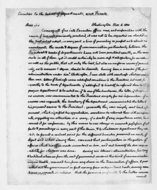 Thomas Jefferson to Cabinet Members, November 6, 1801. Circular to incoming cabinet members.