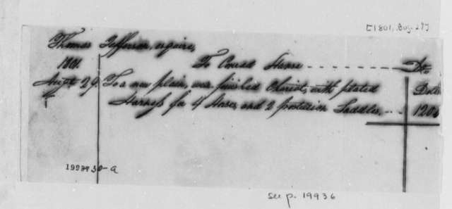 Thomas Jefferson to Conrad Hanse, August 29, 1801, Chariot and Horses