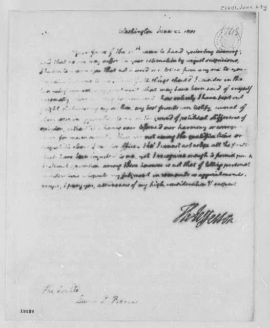 Thomas Jefferson to David Leonard Barnes, June 23, 1801