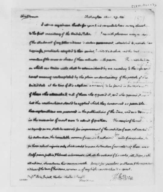 Thomas Jefferson to Eddy, Russell, et al, March 27, 1801