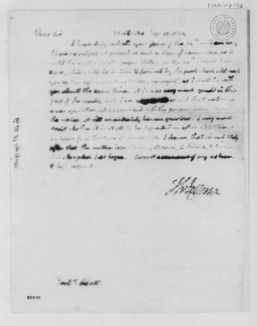 Thomas Jefferson to Edward Gantt, September 19, 1801