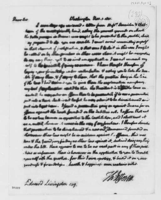 Thomas Jefferson to Edward Livingston, November 1, 1801