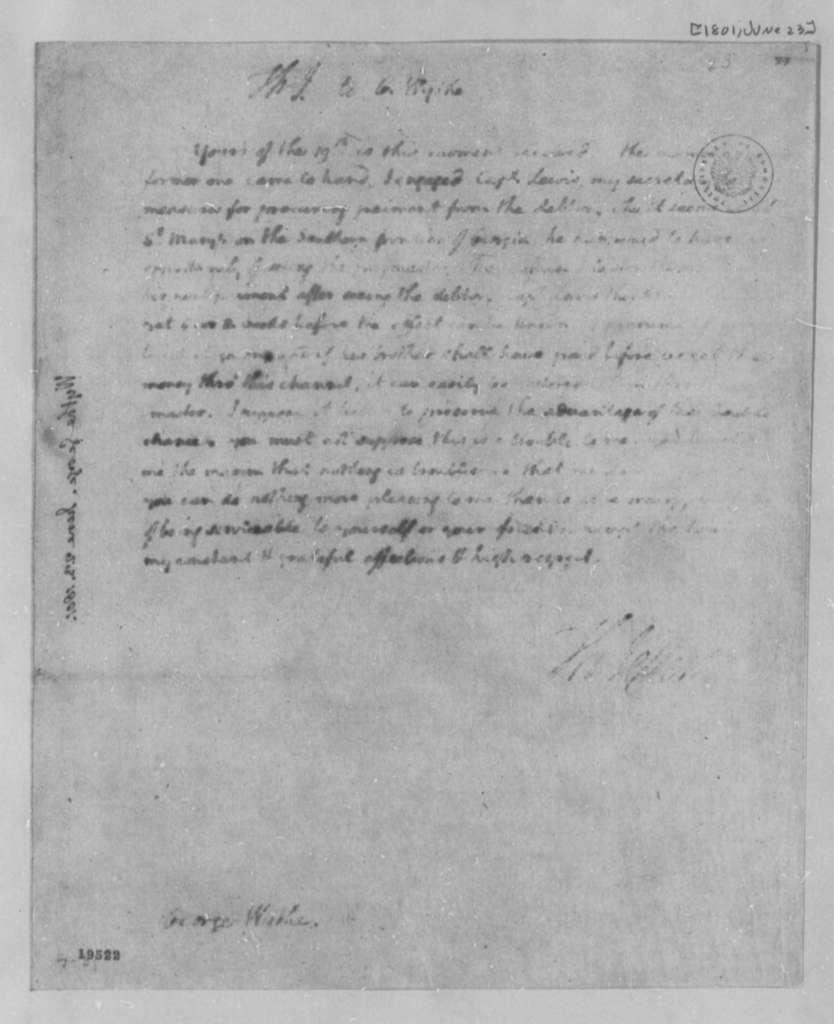 Thomas Jefferson to George Wythe, June 23, 1801