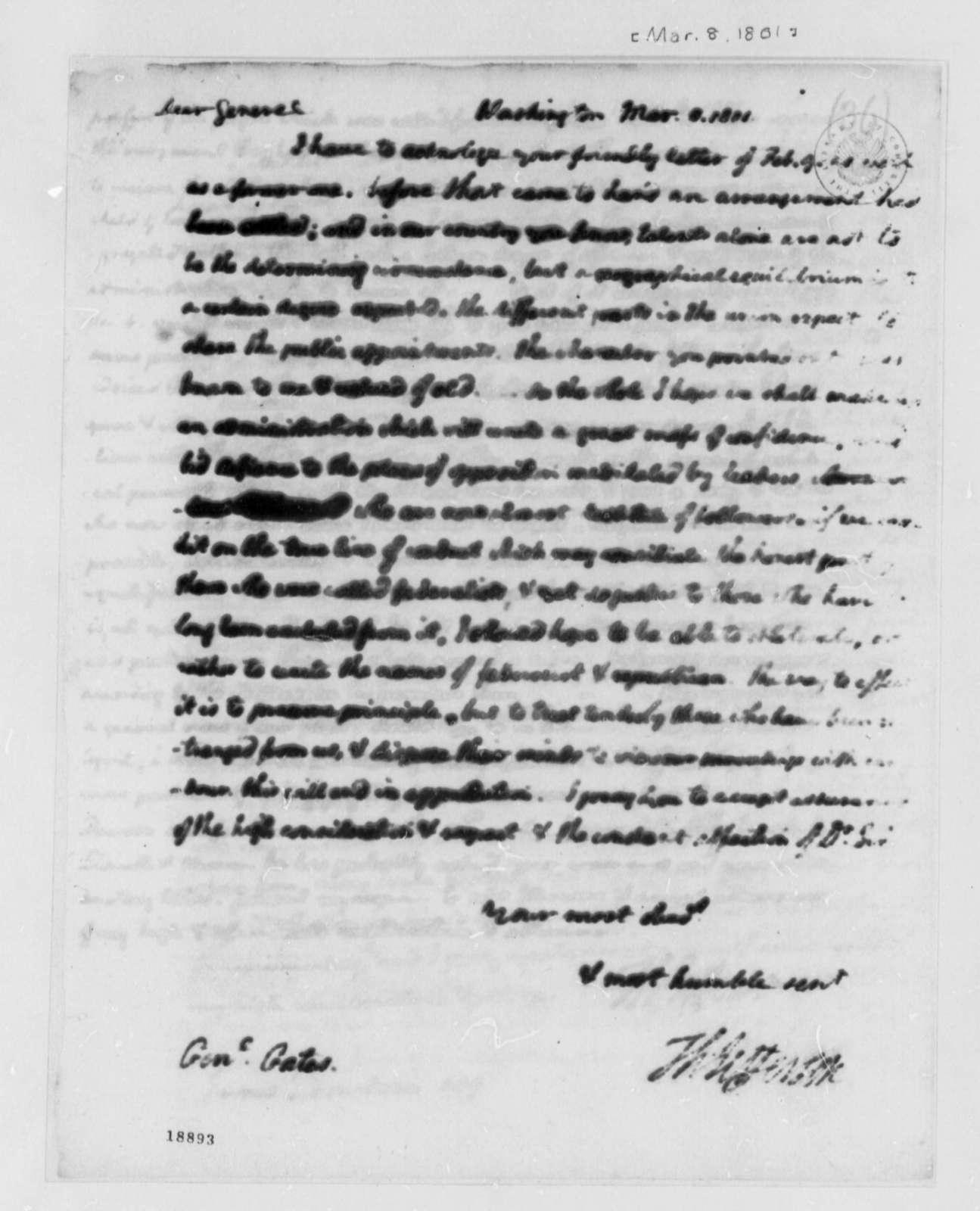 Thomas Jefferson to Horatio Gates, March 8, 1801