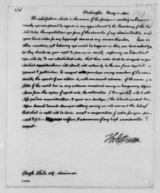 Thomas Jefferson to Hugh White, May 2, 1801