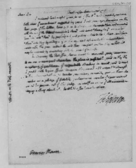 Thomas Jefferson to James Monroe, December 13, 1801
